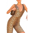 Summer Womens Hot Fashion Plunge V-Neck Leopard Print Backless Sleeveless Skinny Fit Romper
