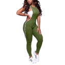 Hot Stylish Contrast Striped Side V Neck Sleeveless Skinny Fitted Jumpsuit For Women