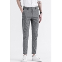 Men's Trendy Plaid Pattern Slim Fitted Straight-Leg Casual Dress Pants