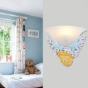 Frosted Glass Bell Sconce Light with Seashell Bedroom Staircase 1 Lights Wall Lighting in Blue