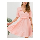 Womens Simple Plain Fashion Ruffled Hem V-Neck Short Sleeve Mini A-Line Dress