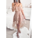 Womens Fancy Cold Shoulder Straps High Low Apricot Lace Dress