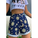 Summer Girls New Stylish High Rise Moon Sun Pattern Rolled Cuff Casual Shorts