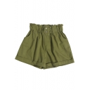 Womens Fashion High Rise Simple Solid Color Rolled Cuff Casual Shorts