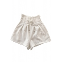 Womens Summer Trendy Lace-Up High Waist Loose Tulip Shorts