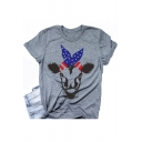 Funny Flag Bull Print Round Neck Short Sleeve Grey Loose Tee