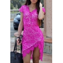 Womens Rose Red V-Neck Short Sleeve Midi Asymmetrical Fitted Lace Dress