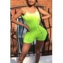 Cool Flourescent Green Contrast Trim Scoop Neck Straps Sleeveless Skinny Fitted Rompers