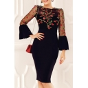 Ladies Chic Floral Embroidery Bell Sleeve Round Neck Midi Pencil Dress