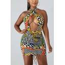 Womens Fancy Colorful Printed Sexy Cutout Halter Neck Open Back Drawstring Front Mini Bodycon Dress