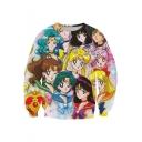 Fashion Sailor Moon Comic Girl Print Round Neck Long Sleeve Pullover Sweatshirt