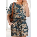 Summer Hot Fashion Camouflage Print Short Sleeves Drawstring Waist Casual Holiday Rompers