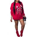 Womens Cool Zipper Shark Mouth Print Crewneck Long Sleeve Red Sweatshirt