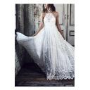 Womens Fancy Halter Neck Sleeveless Open Back White Maxi Evening Dress