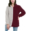 Womens Fashion Two-Tone Color Block Long Sleeve Zip Up Fitted Fluffy Fleece Hoodie