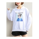 Sweet Girls Comic Character Print Long Sleeve Loose Fit Hoodie