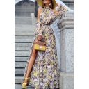 Womens Trendy Hot Sale Halter Neck 3/4 Length Sleeve High Waist Floral Print Flare Elegant Dress