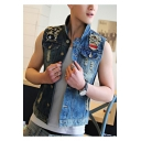 Summer Guys Vintage Distressed Ripped Stand Collar Sleeveless Button Down Blue Denim Vest
