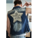 Guys Fashion Letter Star Patched Back Sleeveless Blue Fitted Denim Vest Jacket