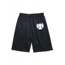 Men's Fashion Popular Shield Logo Printed Drawstring Waist Casual Cotton Sweat Shorts