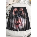 Summer New Stylish Creative 3D Orangutan Printed Drawstring Waist Casual Loose Shorts