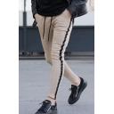 Men's New Stylish Stripe Pattern Tape Side Drawstring Waist Skinny Casual Cotton Pencil Pants