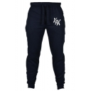 Men's Simple Fashion Letter XXX Printed Drawstring Waist Casual Slim Fit Sweatpants