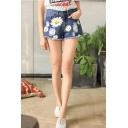 Fashion Floral Print Ripped Fringed Hem Blue Denim Shorts for Girls