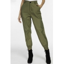 Cool Stylish Plain High Waist Button Zip-Front Ankle Grazer Cargo Pants