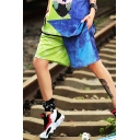 Girls Summer Cool Street Style Two-Tone Color Block Blue and Green Straight Fit Shorts