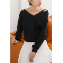 Womens Unique Fancy Cutout V-Neck Long Sleeve Plain Black Sweatshirt