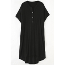 Summer Plain Button Down Oversize Short Sleeve Casual Loose T-Shirt Dress