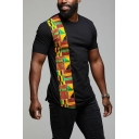 Fashion Tribal Geometric Patched Basic Short Sleeve Slim T-Shirt for Men
