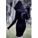 Hot Popular Womens Gothic Style Black Long Sleeve Moon Print Midi Fitted Hoodie Dress