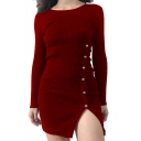 Fashion Hot Sale Round Neck Long Sleeve Beading Embellished Split Skinny Mini Knitted Dress