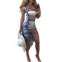 Trendy Sexy Cutout Scoop Neck Sleeveless Asymmetric Hem Blue Tie Dye Maxi Bodycon Tank Dress