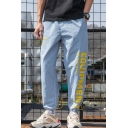 Men's Trendy Letter Printed Drawstring Cuffs Relaxed Fit Casual Track Pants