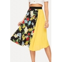Womens Hot Popular Floral Print Colorblock Patch High Elastic Waist Midi Pleated Skirt