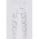 Men's Cool Fashion Colored Spray Paint Printed White Distressed Ripped Jeans