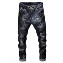 Men's New Fashion Retro Denim Washed Regular Fit Black Destroyed Ripped Jeans