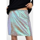 Womens Hot Fashion Neon Green Sequin Embellished A-Line Mini Skirt