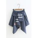 Girls Summer Tie-Front Contrast Trim Animal Check Print Asymmetric Mini Skirt