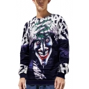 Halloween Horror Clown 3D Print Blue Round Neck Pullover Sweatshirt