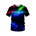 Cool Glaring Galaxy 3D Print Round Neck Short Sleeve Casual Leisure T-Shirt