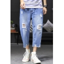 Men's Simple Fashion Solid Color Cropped Distressed Ripped Jeans