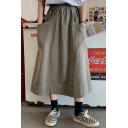 Summer Hot Stylish Cargo Loose Pocket Side Elastic Waist Maxi A-Line Skirt