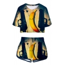 Funny Cartoon Banana 3D Print Short Sleeve Crop Tee with Loose Dolphin Shorts Two-Piece Set