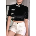 Womens Vintage Chinese Style Stand Collar Frog Button Front Black Slim Crop Tee