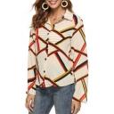 Womens Hot Stylish Colorblock Stripped Print Long Sleeve Button Front Holiday Chiffon Shirts