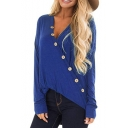 Womens Hot Stylish Plain Button Down V Neck Long Sleeve Stretch Loose T-Shirts